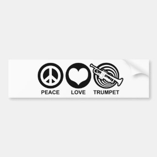 Peace Love Trumpet Bumper Sticker