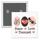 Peace Love Trumpet Button