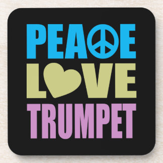 Peace Love Trumpet Drink Coaster