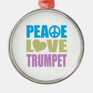 Peace Love Trumpet Round Metal Christmas Ornament