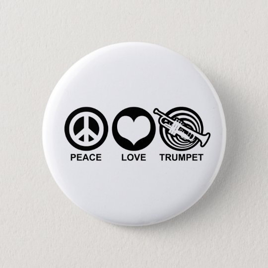 Peace Love Trumpet Pinback Button