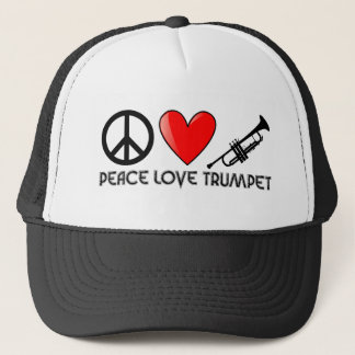 Peace, Love, Trumpet Trucker Hat