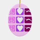 Peace Love Tumble Ceramic Ornament