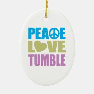 Peace Love Tumble Double-Sided Oval Ceramic Christmas Ornament