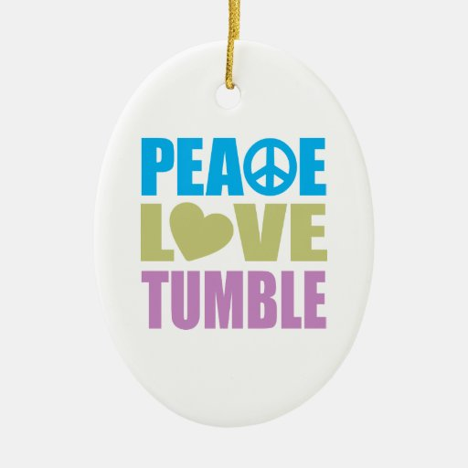 Peace Love Tumble Double-Sided Oval Ceramic Christmas Ornament