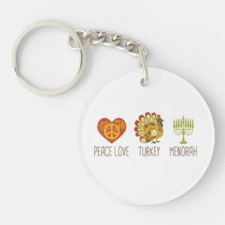 Peace Love Turkey Menorah Single-Sided Round Acrylic Keychain