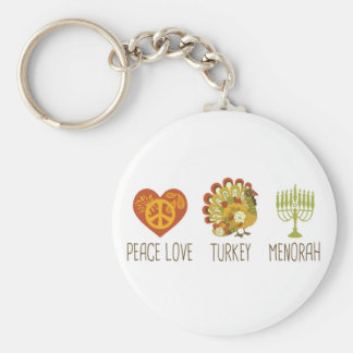 Peace Love Turkey Menorah Basic Round Button Keychain