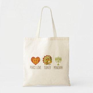 Peace Love Turkey Menorah Tote Bag