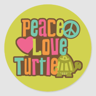 Peace Love Turtle Classic Round Sticker