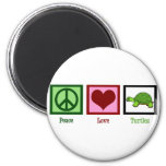 Peace Love Turtles 2 Inch Round Magnet