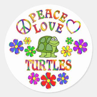 Peace Love Turtles Classic Round Sticker