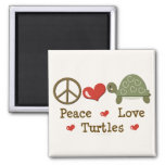 Peace Love Turtles Magnet