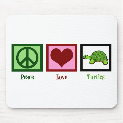 Peace Love Turtles Mouse Pads