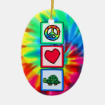 Peace, Love, Turtles Double-Sided Oval Ceramic Christmas Ornament