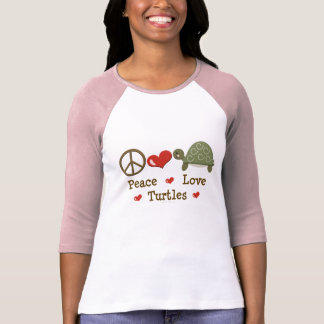 Peace Love Turtles Raglan T shirt