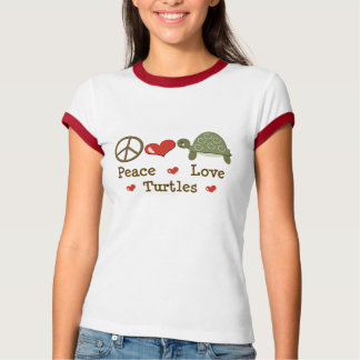 Peace Love Turtles Ringer T shirt