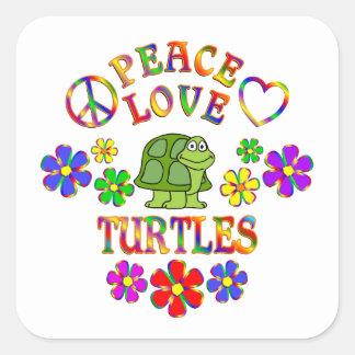 Peace Love Turtles Square Sticker