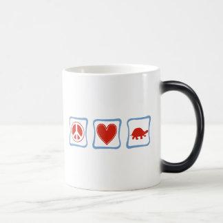 Peace Love Turtles squares Magic Mug