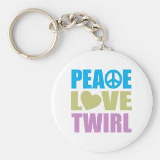 Peace Love Twirl Basic Round Button Keychain