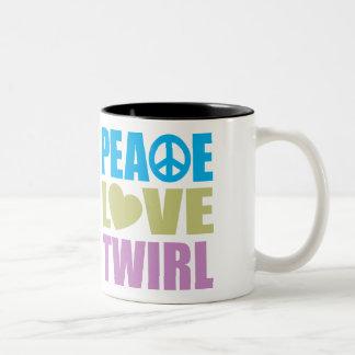 Peace Love Twirl Two-Tone Coffee Mug
