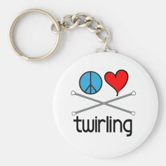 Peace Love Twirling Basic Round Button Keychain