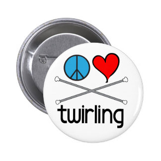 Peace Love Twirling 2 Inch Round Button