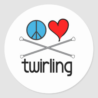 Peace Love Twirling Classic Round Sticker