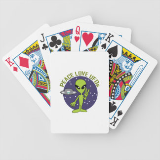 PEACE LOVE UFOS BICYCLE PLAYING CARDS
