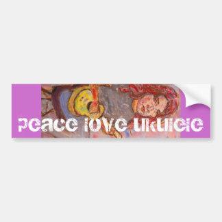 peace love ukulele bumper sticker