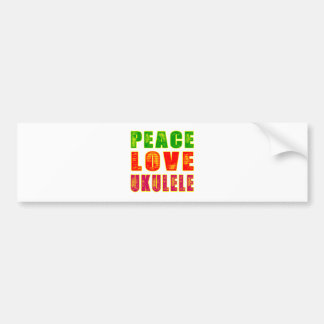 Peace Love Ukulele Bumper Sticker