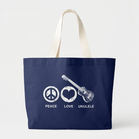 Peace Love Ukulele Large Tote Bag