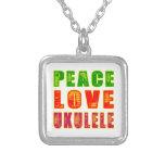 Peace Love Ukulele Personalized Necklace