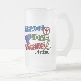 PEACE LOVE UNDERSTAND AUTISM 16 OZ FROSTED GLASS BEER MUG