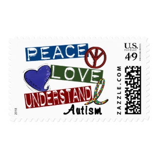 PEACE LOVE UNDERSTAND AUTISM POSTAGE STAMPS