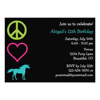 Peace Love Unicorns Girl s Birthday Invitation