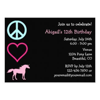 Peace Love Unicorns Girl's Birthday Invitation