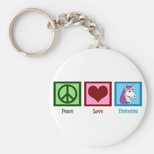 Peace Love Unicorns Keychain