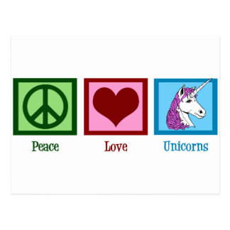 Peace Love Unicorns Postcard