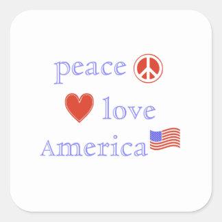 Peace Love United States Square Sticker