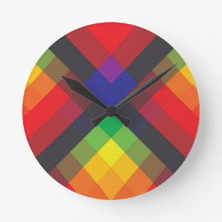 Peace, Love, Unity, Respect Abstract Round Clock