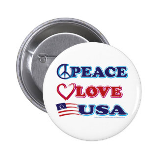 Peace-Love-USA 2 Inch Round Button