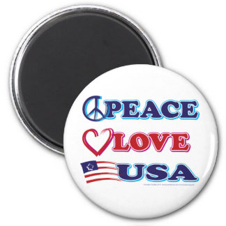 Peace-Love-USA 2 Inch Round Magnet