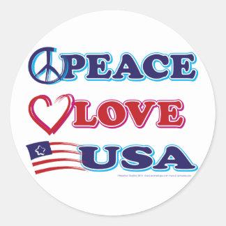 Peace-Love-USA Classic Round Sticker