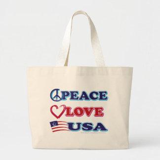 Peace-Love-USA Jumbo Tote Bag