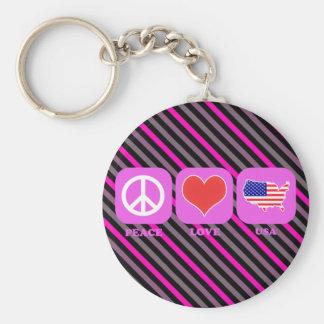 Peace Love Usa Basic Round Button Keychain