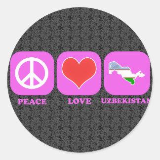 Peace Love Uzbekistan Stickers