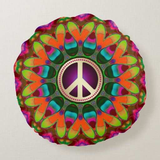 Peace & Love (v1) Homely Hippie Round Cushion