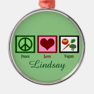 Peace Love Vegan Custom Green Metal Ornament
