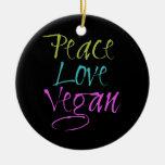 Peace, Love, Vegan Double-Sided Ceramic Round Christmas Ornament