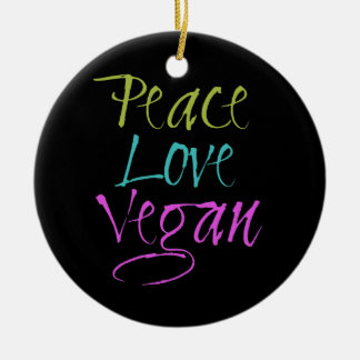 Peace, Love, Vegan Double-Sided Ceramic Round Christmas Ornament